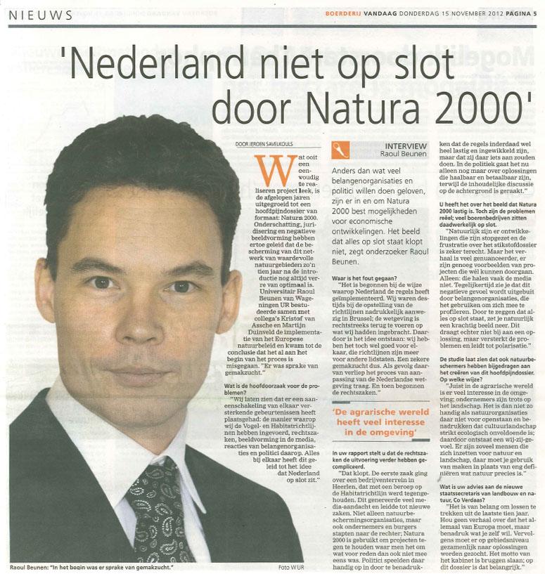Nederland niet op slot door Natura 2000